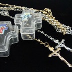 "32"" Mini Gold/Silver Bead Rosary in Cross Shaped Acrylic Box .54 ea"