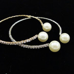 Petite Elegant Gold & Silver Rhinestone Bangle w/ Pearls .56 ea