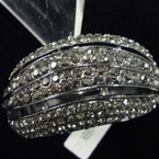 "1.75"" Wide Silver Hinged Bangle Loaded w/ Hematite/Blk Crystals sold by pc $ 2.50 ea"