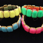 Solid Neon Color Gold Frame Stretch Bracelet .56 each