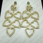 "2.75"" Gold Rhinestone Earring Flower & 5 Hearts sold by pc $ 1.50 pr pair"