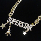 "16"" Heavy Gold Chain Necklace w/ Crystal Stone Superstar 6 per pk .75 each"