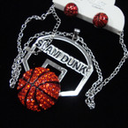 "20""  Silver Chain Necklace Set w/ Crystal Stone Basketball w/ Backboard sold by pc $ 2.50 ea set"