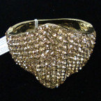"2.5"" Wide Best Quality Gold Cry. Stone Hinged Fashion Bracelet sold by pc  $2.75 ea"