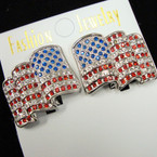 "1.25"" Cast Silver Wavy Crystal Stone USA Flag CLIP ON Earrings sold by pr $ 1.00 ea"