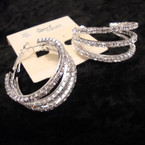 "1.5"" SIlver 3 Line Rhinestone Fashion Hoop Earring sold by pair $1.25 ea pr"