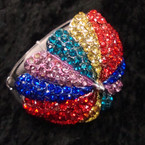 "2.5"" Umbrella Style Hinged Bracelet Covered in Multi Color Crystals sold by pc $2.50 ea"