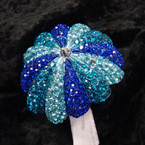 "2.5"" Umbrella Style Hinged Bracelet Covered in Bluetone Crystals sold by pc $2.50 ea"