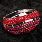 """1.75"""" Wide Silver Hinged Bangle Loaded w/ Redtone Crystals sold by pc $ 2.50 ea"""