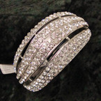 """1.75"""" Wide Silver Hinged Bangle Loaded w/ Clear Color Crystals sold by pc $ 2.50 ea"""