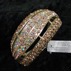 "1.75"" Wide Silver Hinged Bangle Loaded w/ Goldtone Crystals sold by pc $ 2.50 ea"