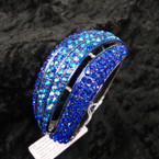 """1.75"""" Wide Silver Hinged Bangle Loaded w/ Bluetone Crystals sold by pc $ 2.50 ea"""