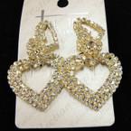 "Best Quality 2"" Elegant Gold Heart Rhinestone Fashion Earrings sold by pc $ 1.50 ea"