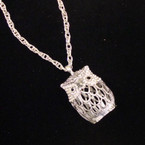 "High Quality 24"" Silver Chain Necklace w/ Crystal Stone Owl Pend. sold by pc $1.50 ea"