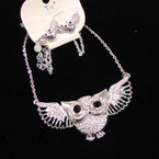 """High Quality 18"""" Silver Chain Necklace Set w/ Cry. Owl Pendant w/ Wings sold by set $ 2.00 ea"""