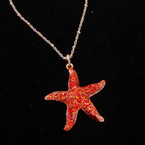 """18"""" Gold Chain Necklace w/ 1.5"""" Red Crystal Stone Starfish sold by pc $ 1.50 ea"""