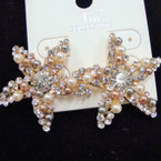 "High Quality 1.5"" Cry. Stone Starfish Earring w/ Muli Color Pearls sold by pr $ 1.50 ea"