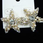 "High Quality 1.5"" Cry. Stone Starfish Earring w/ White Pearls sold by pr $ 1.50 ea"
