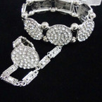Hi Fashion Silver Disc Bracelet w/ Cry. Stone & Matching Ring sold by pc $2.00 ea