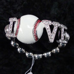 I Love Baseball Crystal Stone Stretch Bracelet sold by pc $2.00 ea