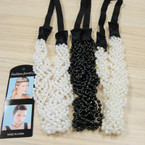 Trendy Twisted Pearl Fashion Headband w/ Elastic Back  .52 ea