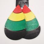 "Jumbo 5"" 4 Part Wood Earring African Colors .54 ea pr"