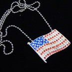 "26"" SIlver Ball Chain Necklace w/ Crystal Stone USA Flag Pend. .57 ea"