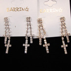 2 Strand Gold & Silver Rhinestone Cross Earrings .54 per pair