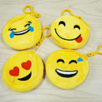 "TRENDY 3.5"" Emoji Expression Yellow Zipper Coin Purse w/ Clip .50 ea"