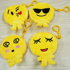 "3.5"" Emoji Body Expression Yellow Zipper Coin Purse w/ Clip .52 ea"