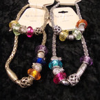Magnetic Pandora Style Gold/Sil Bracelet w/ Colored Beads .54 ea