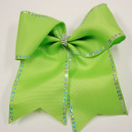 "6"" X 6"" Sequin Edge Cheer Gator Clip Bows w/ Crystal Stone Center .56 ea"