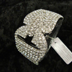 "2"" Wide Silver Hinged Bangle Loaded w/ Clear Crystals sold by pc $ 2.50 ea"