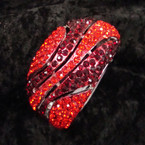 """1.75"""" Wide Silver Hinged Bangle Loaded w/ Red/Tone Crystals sold by pc $ 2.50 ea"""