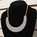 "16"" Gold & SIlver Fashion Necklace w/ Crystal Stone Statement Pendant  .56 ea"