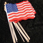 "12"" Wood Stick w/ 6"" X 8"" USA Fabric Flag 24 per pk SPECIAL .25 each"