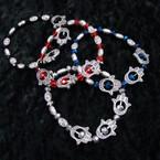 SIlver & Crystal Stone Stretch Bracelet w/ Hamsa .54 ea