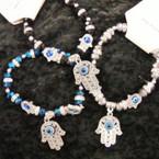 Crystal Stone Stretch Bracelet w/ Hamsa & Eye of Protection Beads  .54 ea