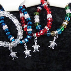 Mixed Color Crystal Stone Stretch Bracelet w/ Turtle Charm .54 ea