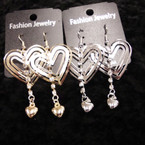 Cute Gold & Silver Heart Earring w/ Dangle Rhinestone Strip .54 ea