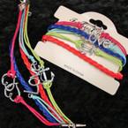 4 Line Multi Color Cord Bracelet w/ Best Love/Anchor/Heart Charm .58 ea
