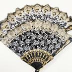 """9"""" Fancy Fabric Hand Fan Black/White Glitter Pattern  .54 ea"""