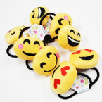 2 Pack Plush Emoji Ponytail Holders 12-2 pks per pk .54 per set
