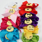 "6"" Gator Clip Tail Bows w/ Plush Emoji Asst Colors .58 ea"