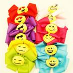 "6"" Gator Clip Bows w/ Plush Emoji Asst Colors .58 ea"