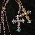 """30"""" Gold & Silver Necklace w/ 3.25"""" Cross Pend. w/ Blue Crystals .54 ea"""