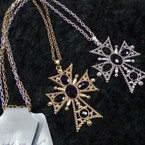 "30"" Gold & Silver Necklace w/ 3"" Cross Pend. w/ Black Stones .54 ea"