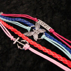 5 Line Multi Color Cord Bracelet w/ Love/Butterfly/Anchor Charm .58 ea