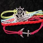 4 Line Multi Color Cord Bracelet w/ Dream/Ship Wheel/Anchor Charm .58 ea