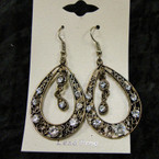 """1.5"""" Cast Antique Gold Earring w/ Clear Crystal Stones sold by pair $ 1.00 ea"""